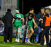 9th February 2018, Galway Sportsground, Galway, Ireland; Guinness Pro14 rugby, Connacht versus Ospreys; Connacht Full Back Tiernan O Halloran leaves the field injured in the 14th minute