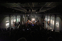 """Pictured: The band performs. Saturday 21 September 2019<br /> Re: Concert for the exhibition of """"No More Shall We Part, 14 Paintings, 17 Years Later"""", a collection of paintings based on the Nick Cave and the Bad Seeds album with the same name, by Stefanos Rokos at Bernerts Gallery in Antwerp, Belgium."""
