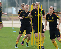 20180304 - LARNACA , CYPRUS :  Belgian Janice Cayman , Lenie Onzia and Jassina Blom (r) pictured during a Matchday -1 training from The Belgian Red Flames prior to their game against Austria , on Sunday 4 March 2018 at the Alpha Sports Grounds in Larnaca , Cyprus . This will be the third game in group B for Belgium during the Cyprus Womens Cup , a prestigious women soccer tournament as a preparation on the World Cup 2019 qualification duels. PHOTO SPORTPIX.BE | DAVID CATRY