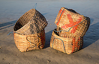 Jimbaran Beach, Bali, Indonesia.  Baskets for Holding Fish Waiting to be Loaded on Fishing Boats.