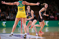 11.10.2017 Silver Ferns Kayla Cullen in action during the Constellation Cup netball match between the Silver Ferns and Australia at Titanium Security Arena in Adelaide. Mandatory Photo Credit ©Michael Bradley.