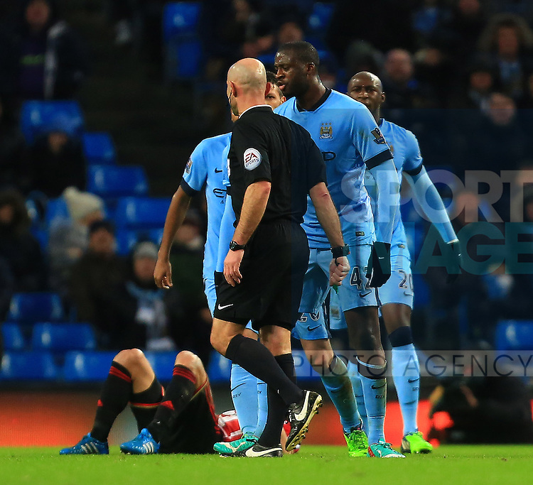 Yaya Toure of Manchester City confronts the referee - Manchester City vs. Sunderland - Barclay's Premier League - Etihad Stadium - Manchester - 28/12/2014 Pic Philip Oldham/Sportimage