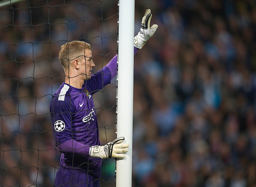 Manchester City's Joe Hart<br /> <br /> Photo by Stephen White/CameraSport<br /> <br /> Football - UEFA Champions League Group D - Manchester City v Bayern Munich - Wednesday 2nd October 2013 -  Etihad Stadium - Manchester<br /> <br /> &copy; CameraSport - 43 Linden Ave. Countesthorpe. Leicester. England. LE8 5PG - Tel: +44 (0) 116 277 4147 - admin@camerasport.com - www.camerasport.com