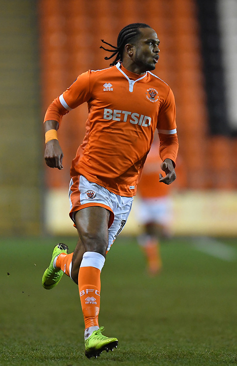 Blackpool's Nathan Delfouneso<br /> <br /> Photographer Dave Howarth/CameraSport<br /> <br /> The Emirates FA Cup Second Round Replay - Blackpool v Solihull Moors - Tuesday 18th December 2018 - Bloomfield Road - Blackpool<br />  <br /> World Copyright © 2018 CameraSport. All rights reserved. 43 Linden Ave. Countesthorpe. Leicester. England. LE8 5PG - Tel: +44 (0) 116 277 4147 - admin@camerasport.com - www.camerasport.com