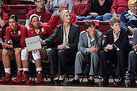 STANFORD, CA - February 27, 2014: Stanford Cardinal's assistant coach Kate Paye during Stanford's 83-60 victory over Washington at Maples Pavilion.