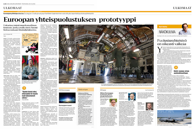 Helsingin Sanomat (leading Finnish daily) on the European military transport airbase of Pápa, Hungary, August 2016<br />