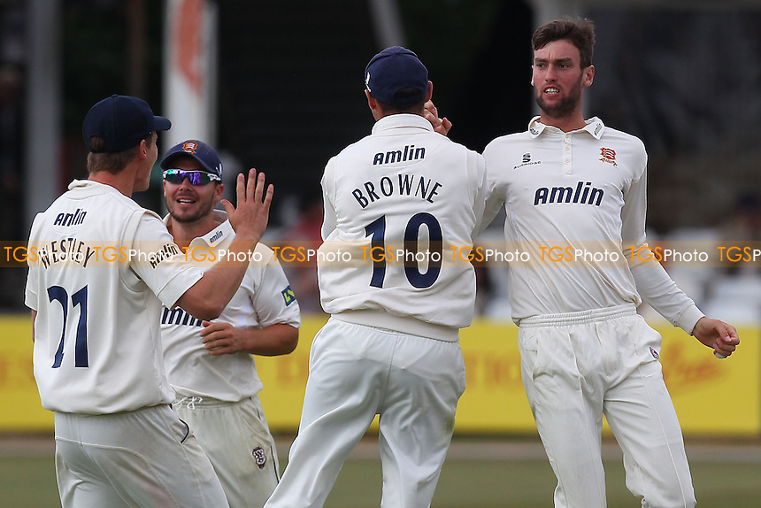 Reece Topley of Essex (R) celebrates the wicket of Hamish Marshall - Essex CCC vs Gloucestershire CCC - LV County Championship Division Two Cricket at the Ford County Ground, Chelmsford - 01/07/14 - MANDATORY CREDIT: Gavin Ellis/TGSPHOTO - Self billing applies where appropriate - contact@tgsphoto.co.uk - NO UNPAID USE