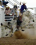 Cody Gardner earns a score of 78 points on a Southwick Rodeo Company bull during bullriding action at the Southeast Weld County CPRA Rodeo in Keenesburg, Colorado.