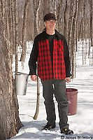 Man working in an old fashioned maple syrup farm.
