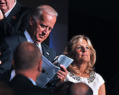 Denver, CO - August 25, 2008 -- Democratic Vice Presidential candidate United States Senator Joseph Biden (Democrat of Delaware), left, and his wife, Jill, make a surprise appearance on day 1 of the 2008 Democratic National Convention at the Pepsi Center in Denver, Colorado on Monday, August 25, 2008..Credit: Ron Sachs - CNP.(RESTRICTION: NO New York or New Jersey Newspapers or newspapers within a 75 mile radius of New York City)