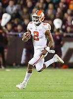 Blacksburg, VA - September 30, 2017: Clemson Tigers quarterback Kelly Bryant (2) in action during the game between Clemson and VA Tech at  Lane Stadium in Blacksburg, VA.   (Photo by Elliott Brown/Media Images International)