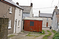 The strange shed off the Cord Road<br /> This shed with its telepnone line has stood on this spot for maybe eighty years, still coated in the same colour paint as I remember as a child <br /> What purpose or use it stands, I know not what It is a mystery