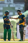 Ferisco Adams and Aubrey Swanepoel of South Africa react during Day 1 of Hong Kong Cricket World Sixes 2017 Group A match between South Africa vs Pakistan at Kowloon Cricket Club on 28 October 2017, in Hong Kong, China. Photo by Yu Chun Christopher Wong / Power Sport Images