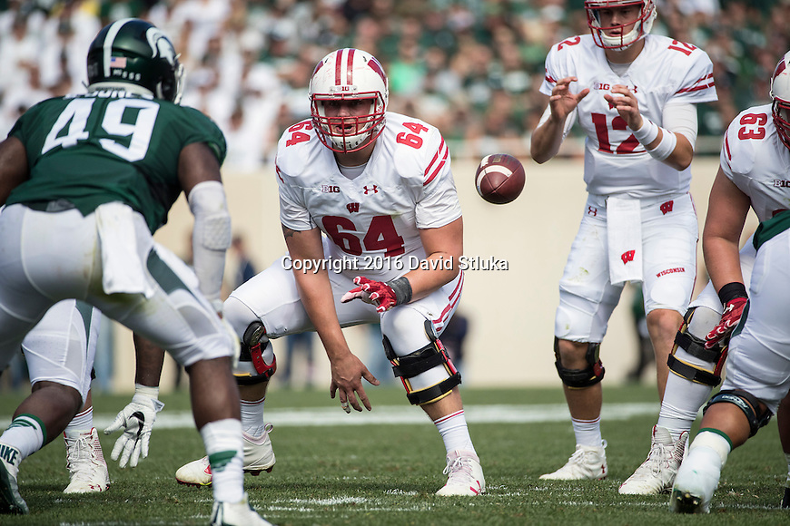 Wisconsin Badgers offensive lineman Brett Connors (64) during an NCAA college football game against the Michigan State Spartans Saturday, September 24, 2016, in East Lansing, Michigan. The Badgers won 30-6. (Photo by David Stluka)