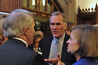 John R. Ford, David F. Swensen and Anne Keating. Cocktail Reception for Yale University Athletics Blue Leadership 2009 Honorees. Kiphuth Trophy Room, Payne Whitney Gym on 20 November '09.