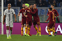 Aleksandar Kolarov of AS Roma celebrates with Bryan Cristante of AS Roma, Nicolo Zaniolo of AS Roma, Cengiz Under of AS Roma , Patrik Schick of AS Roma after scoring goal of 2-2 during the Serie A 2018/2019 football match between AS Roma and FC Internazionale at stadio Olimpico, Roma, December, 2, 2018 <br />  Foto Andrea Staccioli / Insidefoto