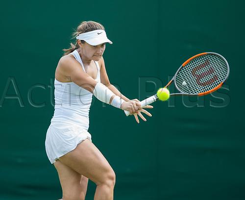 July 4th 2017, All England Lawn Tennis and Croquet Club, London, England; The Wimbledon Tennis Championships, Day 2; Lauren Davis (USA) hits a backhand return to Varvara Lepchenko (USA)