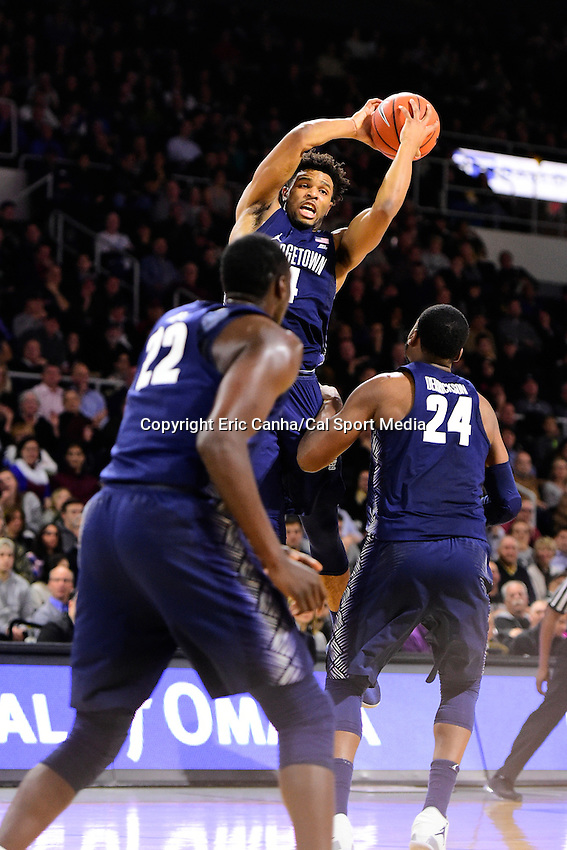 Wednesday, January 4, 2016: Georgetown Hoyas guard Jagan Mosely (4) pulls down a rebound during the NCAA basketball game between the Georgetown Hoyas and the Providence Friars held at the Dunkin Donuts Center, in Providence, Rhode Island. Providence defeats Georgetown 76-70 in regulation time. Eric Canha/CSM
