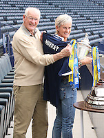 Julie Murray with her father and former player Roy Erskine who ttok part in the draw for the Scottish Cup 1st Round which took place at Hampden Park, Glasgow on 8.8.13.