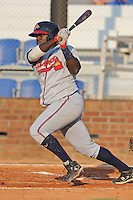 Danville Braves Daniel Falcon at Howard Johnson Field in Johnson City, Tennessee July 6, 2010.   Johnson City won the game 6-5.  Photo By Tony Farlow/Four Seam Images