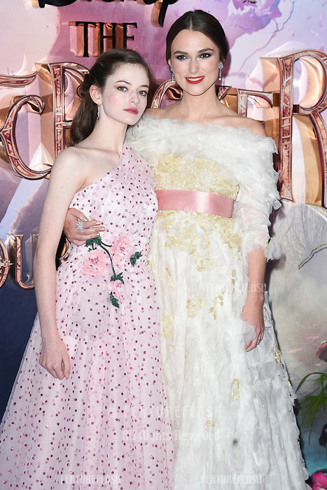 "LONDON, UK. November 01, 2018: Mackenzie Foy & Keira Knightley at the premiere of ""The Nutcracker and the Four Realms"" at the Vue Westfield, London.<br /> Picture: Steve Vas/Featureflash"