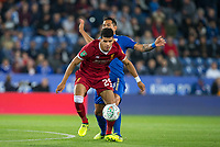 Dominic Solanke of Liverpool holds off Leonardo Ulloa of Leicester City during the football league cup Carabao Cup 3rd round match between Leicester City and Liverpool at the King Power Stadium, Leicester, England on 19 September 2017. Photo by Andy Rowland.
