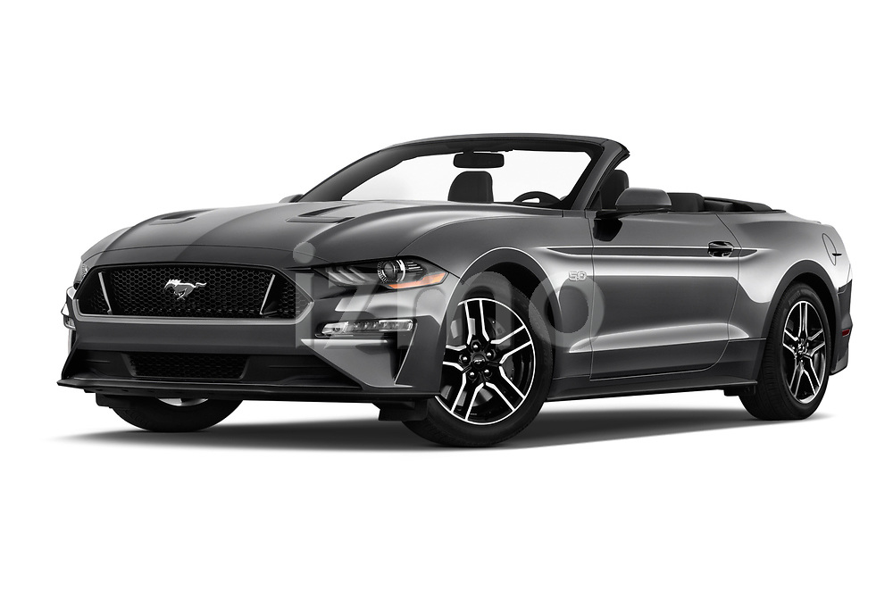 Stock pictures of low aggressive front three quarter view of a 2018 Ford Mustang GT Premium 2 Door Convertible