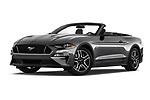 Stock pictures of low aggressive front three quarter view of a 2020 Ford Mustang GT Premium 2 Door Convertible