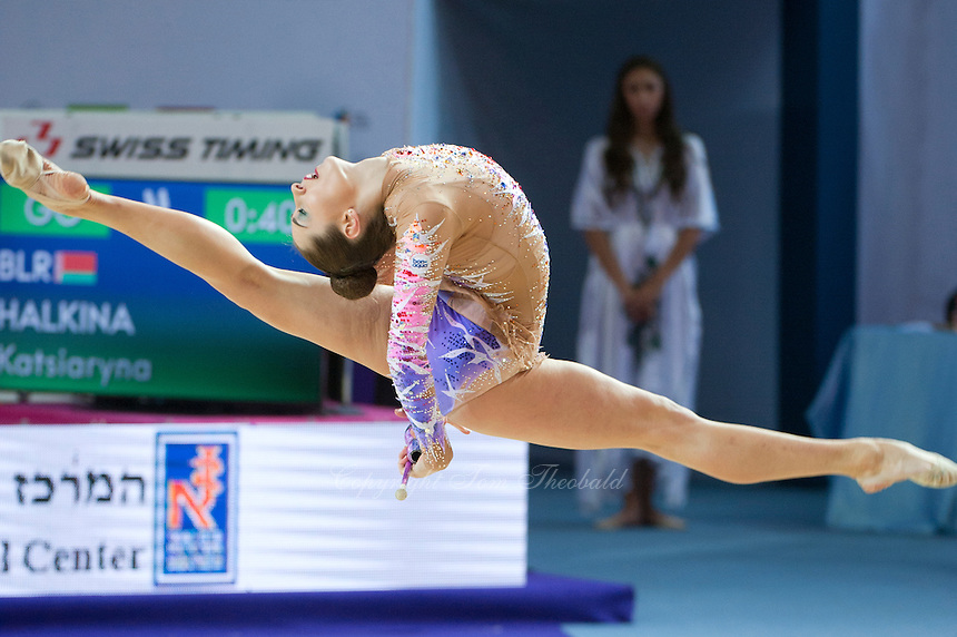 KATSIARYNA HALKINA of Belarus performs with clubs at 2016 European Championships at Holon, Israel on June 18, 2016.