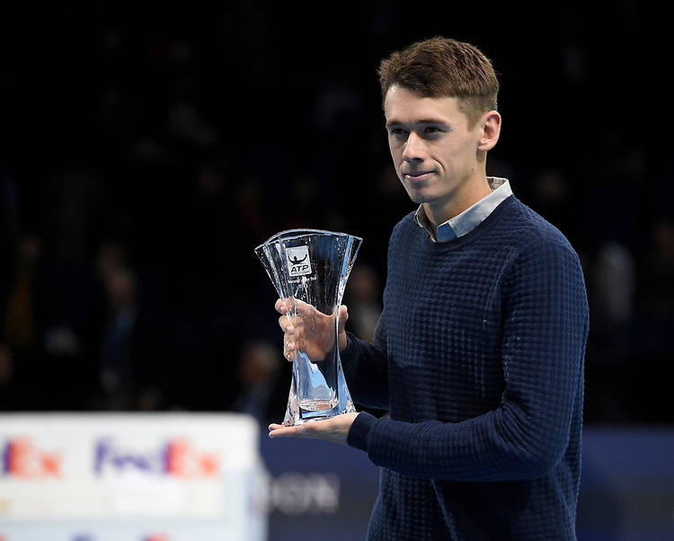 Alex De Minaur receiving his award for ATP Newcomer of the Year presentation by Chris Kermode, Executive Chairman and President of the ATP<br /> <br /> Photographer Hannah Fountainl/CameraSport<br /> <br /> International Tennis - Nitto ATP World Tour Finals Day 3 - O2 Arena - London - Tuesday 13th November 2018<br /> <br /> World Copyright © 2018 CameraSport. All rights reserved. 43 Linden Ave. Countesthorpe. Leicester. England. LE8 5PG - Tel: +44 (0) 116 277 4147 - admin@camerasport.com - www.camerasport.com