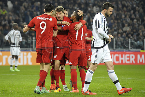 23.02.2016. Turin, Italy. UEFA Champions League football. Juventus versus Bayern Munich.  Goal celebrtion from Thomas Muller Bayern
