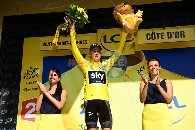Christopher Froome (GBR) Team Sky retains the Yellow Jersey at the end of Stage 7 of the 104th edition of the Tour de France 2017, running 213.5km from Troyes to Nuits-Saint-Georges, France. 7th July 2017.<br /> Picture: ASO/Alex Broadway | Cyclefile<br /> <br /> <br /> All photos usage must carry mandatory copyright credit (&copy; Cyclefile | ASO/Alex Broadway)