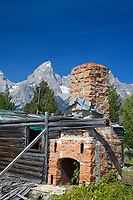 The derelict buildings of the Bar B Bar guest ranch in Grand Teton Park. A popular place in it's day.<br />