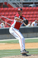 Travis Webb #29 of the Carolina Mudcats pitching during a game against the Chattanooga Lookouts on on May 9, 2010 in Zebulon, NC.