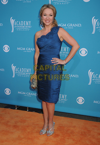 KATIE COOK.45th Annual Academy Of Country Music Awards held at the MGM Grand Garden Arena, Las Vegas, NV, USA..April 18th, 2010.full length blue one shoulder dress hand on hip ruched grey gray silver shoes clutch bag corsage .CAP/ADM/BP.©Byron Purvis/AdMedia/Capital Pictures.