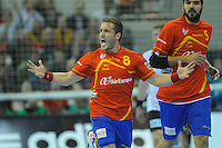23.01.2013 World Championshio Handball. Match between Spain vs Germay at the stadium Principe Felipe. The picture show  Victor Tomas Gonzalez (Right Wing of Spain).