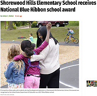 Principal Anu Ebbe walks with students during the playground dedication at Shorewood Hills Elementary School on Friday, September 8, 2017 | Capital Times article online 9/28/17 at http://host.madison.com/ct/news/local/education/shorewood-hills-elementary-school-receives-national-blue-ribbon-school-award/article_982d8395-a8c3-5d0c-8847-43af6d7d35df.html