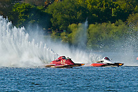 "Shaun Cassidy, A-73 ""CP Racing"", 2.5 Mod class hydroplane and Tom Thompson, A-52 ""Fat Chance IV"", 2.5 Mod hydroplane"