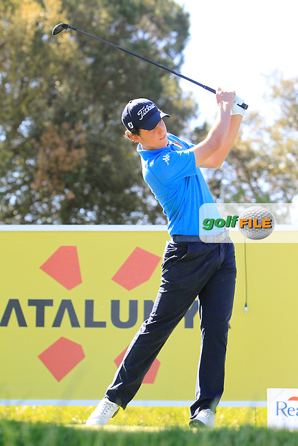 Renato Paratore (ITA) on the 13th tee during Thursday's Round 1 of The Open De Espana at The PGA Catalunya Resort. 15th May 2014.<br /> Picture:  Thos Caffrey / www.golffile.ie