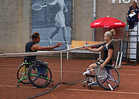 August 6, 2014, Netherlands, Rotterdam, TV Victoria, Tennis, National Junior Championships, NJK,  Wheelchair final Diede de Groot congratulates winner Carlos Anker<br /> Photo: Tennisimages/Henk Koster