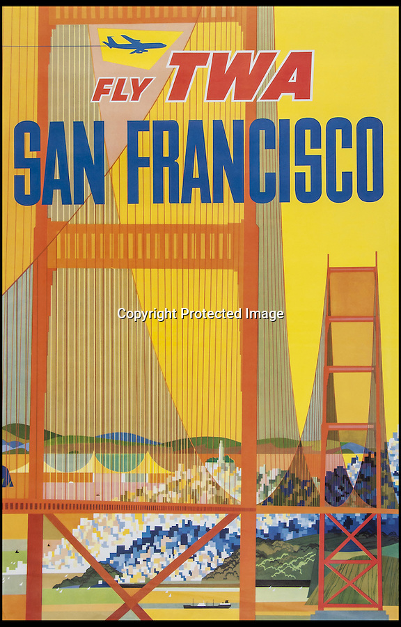 BNPS.co.uk (01202 558833)<br /> Pic: Bloomsbury/BNPS<br /> <br /> ***Please Use Full Byline***<br /> <br /> A poster from 1958 for TWA flight to San Francisco. <br /> <br /> Scarce vintage travel posters that hark back to the halcyon days of travel across the globe in the 1930s are tipped to sell for £50,000.<br /> <br /> The fine collection of over 100 works of art were used to advertise dream holiday destinations in far-flung places and the luxurious ways of reaching them.<br /> <br /> Most of the advertising posters date back to the 1920s and 1930s and are Art Deco in style.<br /> <br /> They are a celebration of the various modes of transport used by wealthy tourists in the days before air travel and package holidays.<br /> <br /> They are being sold at London auctioneers Bloomsbury next week.