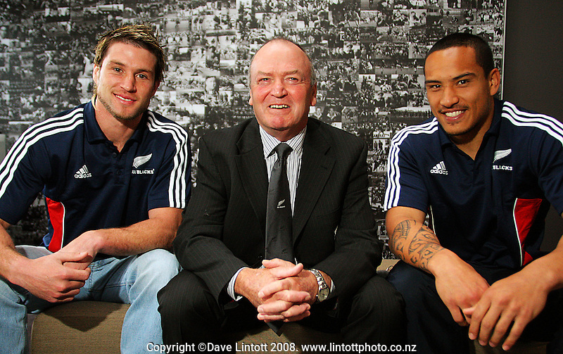 New All Blacks Cory Jane and Hosea Gear with coach Graham Henry at the All Blacks end-of-year tour team announcement at NZRU HQ, Wellington, New Zealand on Sunday, 26 October 2008. Photo: Dave Lintott / lintottphoto.co.nz
