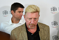 Davis Cup captain Michael Kohlmann (L) and Boris Becker, Head of Men·s Tennis of the German Tennis Federation partake in in a panel discussion in Ismaning, Germany, 17 October 2017. Becker is counting on a German team with the best players for the first Davis Cup round 2018. Photo: Peter Kneffel/dpa /MediaPunch ***FOR USA ONLY***