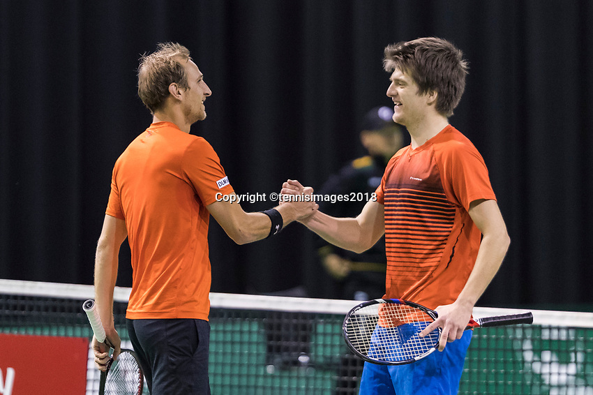 Rotterdam, Netherlands, 11 februari, 2018, Ahoy, Tennis, ABNAMROWTT, Qualifying Doubles final, Thiemo de Bakker (NED) and Sander Arends (NED) (L)<br /> Photo: Henk Koster/tennisimages.com