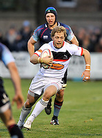 Bedford, England. Alex Tait of Newcastle Falcons in action during The Championship Bedford Blues vs Newcastle Falcons at Goldington Road  Bedford, England on November 3, 2012