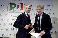 Roma, 19 Novembre 2013<br /> Santa Maria delle Fratte, sede PD<br /> Conferenza stampa di Gianni Cuperlo e Cesare Damiano sul lavoro
