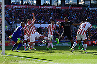 Liverpool's Joel Matip shot is blocked by Stoke City's Charlie Adam<br /> <br /> Photographer Terry Donnelly/CameraSport<br /> <br /> The Premier League - Stoke City v Liverpool - Saturday 8th April 2017 - bet365 Stadium - Stoke-on-Trent<br /> <br /> World Copyright &copy; 2017 CameraSport. All rights reserved. 43 Linden Ave. Countesthorpe. Leicester. England. LE8 5PG - Tel: +44 (0) 116 277 4147 - admin@camerasport.com - www.camerasport.com
