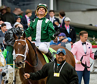 LOUISVILLE, KY - MAY 05: Green Mask #12, ridden by Javier Castellano, wins the Twin Spires Turf Sprint on Kentucky Oaks Day at Churchill Downs on May 5, 2017 in Louisville, Kentucky. (Photo by Jesse Caris/Eclipse Sportswire/Getty Images)