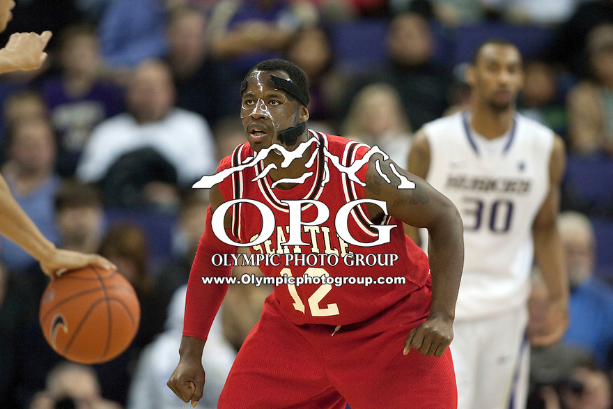 Jan 10, 2012:  Seattle University's #12 Clarence Trent against Washington.  Washington defeated Seattle University  91-83 at Alaska Airlines Arena Seattle, Washington..