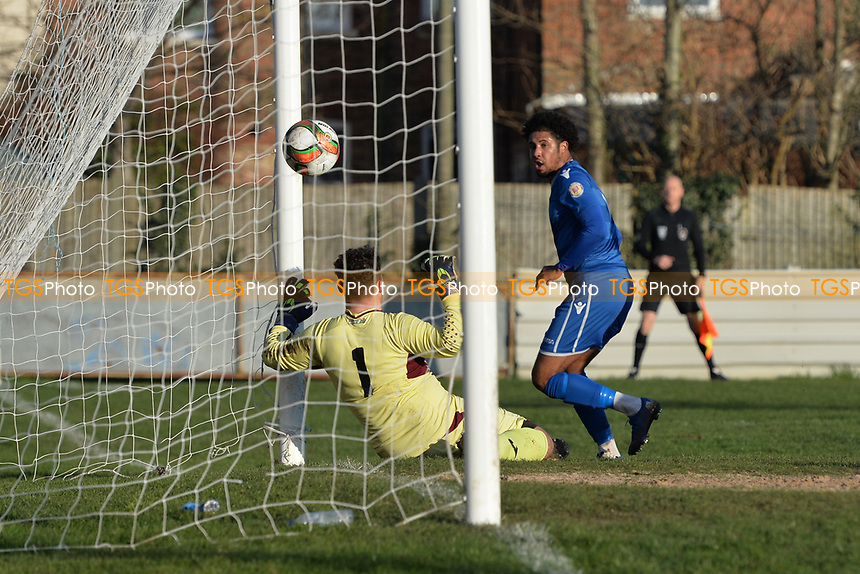 Lewis Francis of Walthamstow scores the second Goal and celebrates during Walthamstow vs Sawbridgeworth Town, Essex Senior League Football at Wadham Lodge Sports Ground on 8th February 2020